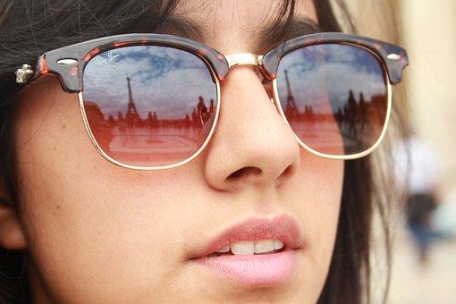 Young Woman, Female, Sunglasses, Paris, Eiffel Tower