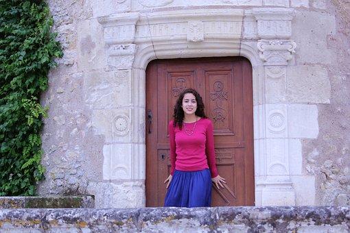 Door, Young Woman, Travel, Tourism, France, La Loire