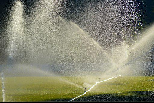 Lawn Irrigation, Sprinkler, Football Pitch, Morning