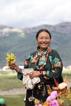 Character, Tibet Ethnic, Hand Holding Flowers, Ms