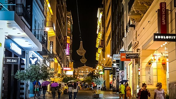 Athens, Evening, Night, Life, Nightlife, Shopping