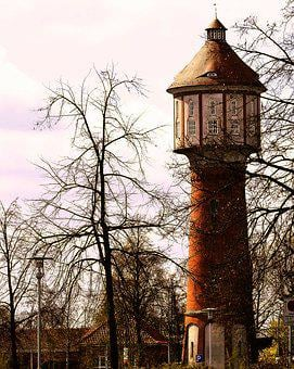Old Water Tower, Lingen, Emsland, Lower Saxony, Idyllic