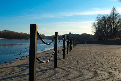 River, Beach, Chain, Fence, Sky, Sunset, Post, Tile