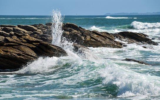 Sea, Rock, Wave, Scum, Brittany, Quiberon