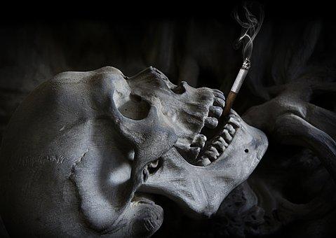 Skull, Cigarette, Death, Skull And Crossbones