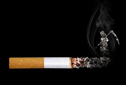 Cigarette, Grim Reaper, Smoke, Embers, Ash, Cant, Tilt