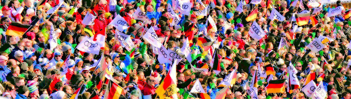 Crowd, Flag Sea, Flags, Human, Audience, Fans, Together