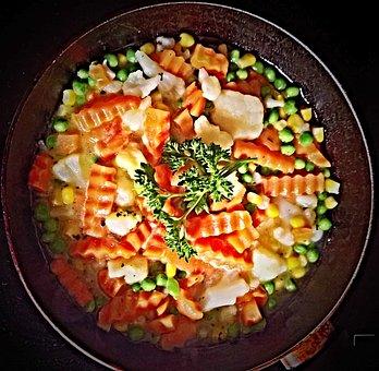 Vegetables, Pan Vegetables, Mixed, Carrots, Peas