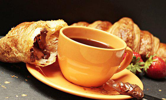 Coffee, Croissant, Coffee Cup, Strawberries, Nutella