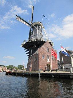 Mill, Air, Dutch Landscape, Netherlands, Mill Blades