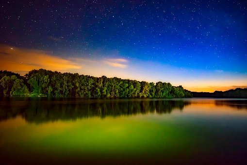 Sunset, Dusk, Stars, Hdr, Lake, Water, Reflections