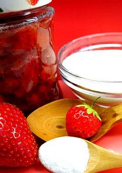 Strawberries, Jam, Jam Jars, Homemade, Canning, Cook