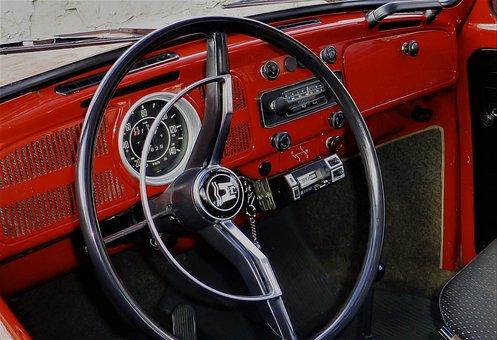 Steering Wheel, Interior, Auto, Dashboard, Classic