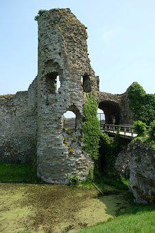 England, Castle, Moated Castle, Middle Ages, Wall