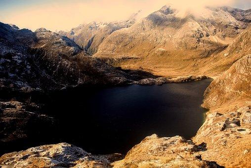New Zealand, Landscape, Mountains, Lake, Water, Ravine