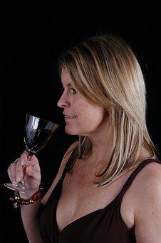 Woman, Blonde, Face, Beauty, Wine, Glass, Portrait