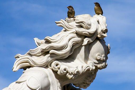 Potsdam, Statue, Sparrows, Park Sanssouci, Sky