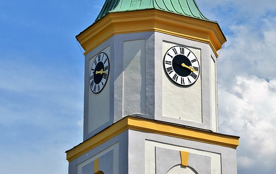 Steeple, Onion Dome, Church, Clock, Pointer, Time Of