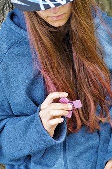 Fidget Spinner, Girl, Ombre Hair, Toy, Novelty, Trend