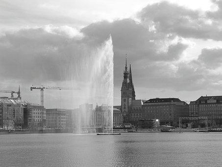 Hamburg, Hamburgensien, Alster, Fountain, Water Art