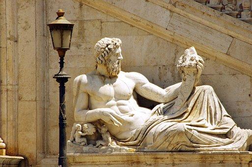 Rome, Statue, Horn, Abundance, Marble, Lighting