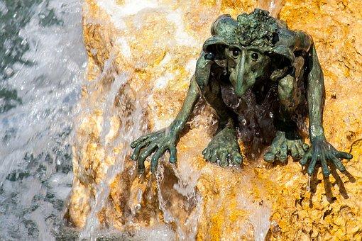 Troll, Water, Sculpture, Fountain, Art, Metal