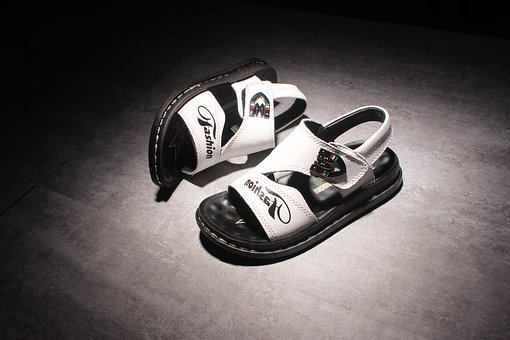 Children's Shoes, Sandals, Breathable, Black Background