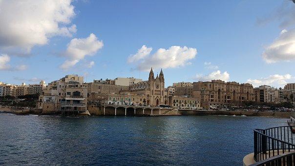 Malta, Island, See, Sliema, Cloud, Europe, Blue