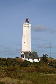 Lighthouse, Denmark, North Sea, Blavand, Holiday, Dunes