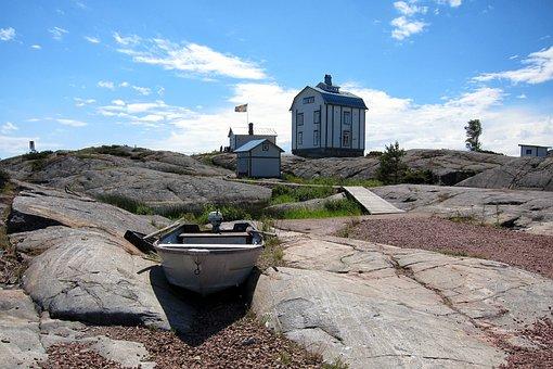 Ahvenanmaa, åland, Island, Sea, Blue, Sky, Boat, Flag