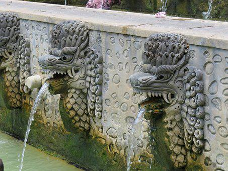 Fountain, Lion Head, Water, Stone, Gargoyle