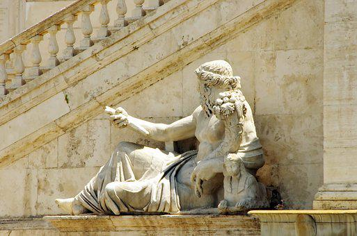 Rome, Statue, Abundance, Staircase, Marble, Romulus