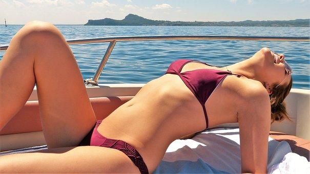 Girl, Young Woman, Boat, Lake, Summer, Bikini, Sun, Joy