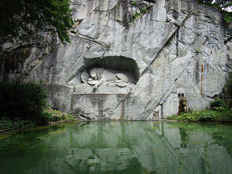 Switzerland, Lion, Swiss, Monument, Sculpture, Europe