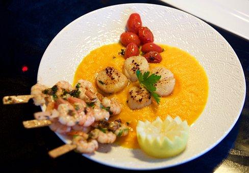 Saint Jacques Nuts, Shrimp, Tomatoes, Lemon, Chiffon