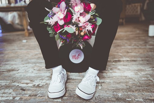 Wedding, Bouquet, Gym Shoes, Just Married, Stroll