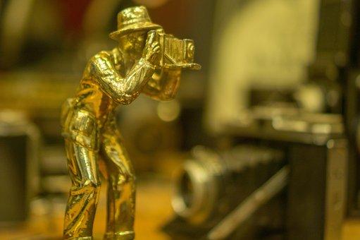 Photographer, Tin Man, Statue, Camera, Antique, Museum