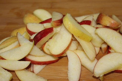 Apple, Apples, Slices, Sliced, Chopped, Chop, Board