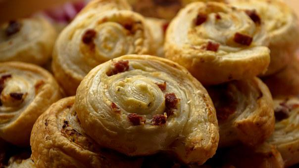 Snack, Puff Pastry, Bacon, Meat, Roll, Food, Baked, Pie