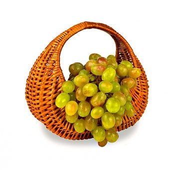 Grapes, Dessert, Food, Berry, Basket, Wicker, Isolated