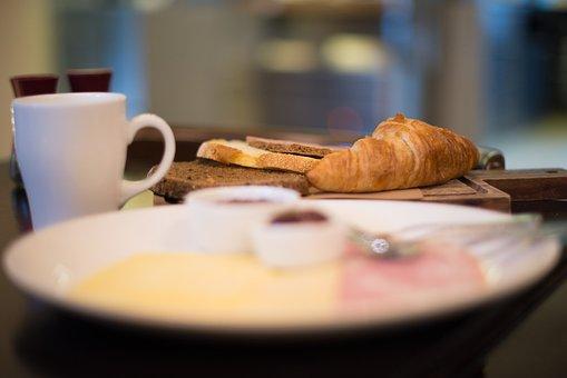 Breakfast, Croissant, Coffee, Table, Food, Morning