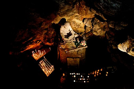 Prayer, Cave, Christian, Statues, Pilgrimage, Candles