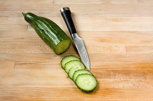 Cucumber, Slices, Sliced, Chopped, Chopping Board