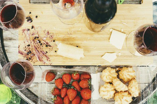 Food, Chopping Board, Kitchen, Macaroons, Red Wine