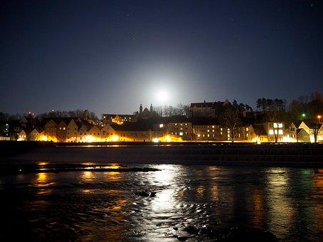 City, Night, Full Moon, Moon, Moonlight, City Lights