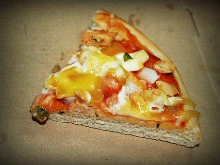 Pizza, Slice, Pepperoni, White, Background, Crust, Pie