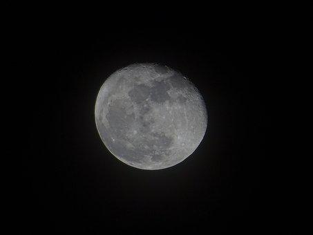 Moon, Dark, Night, Almost Full Moon, Night Sky