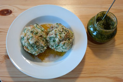 Spinach Dumplings, Dumpling, Specialty, Pesto