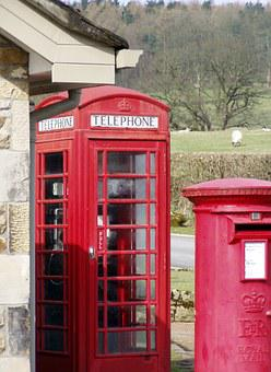 England, Rural, Phone Booth, Mailbox, Communication