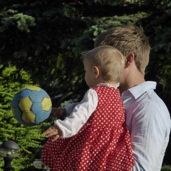 Family, Child, Small Child, Father, Play, Ball, Parents